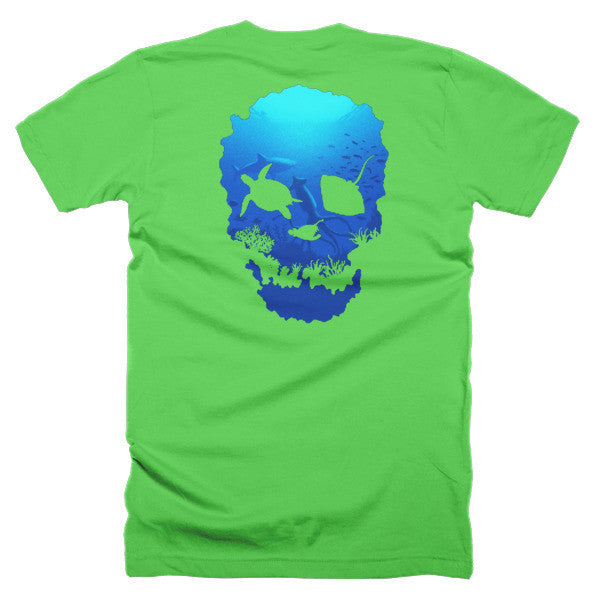Short sleeve skull ocean men's t-shirt (Back) - Beach'n Designs