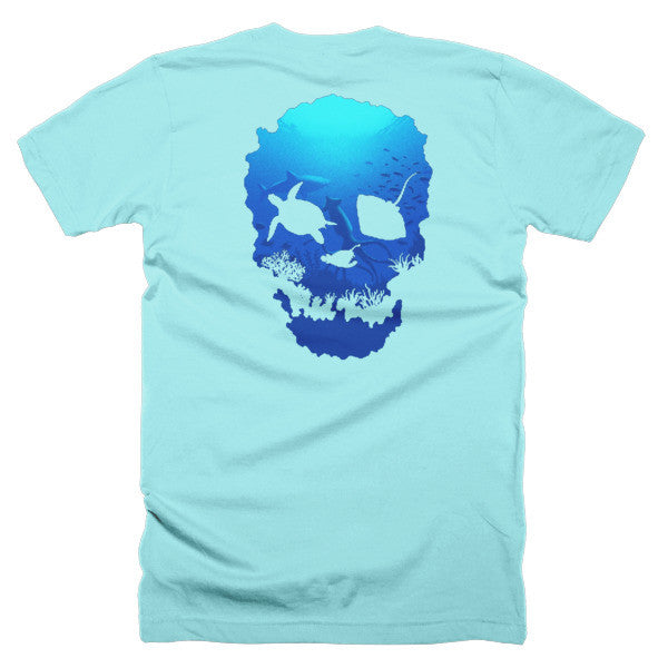 Short sleeve skull ocean men's t-shirt (Back) - Beach'n Designs - 19