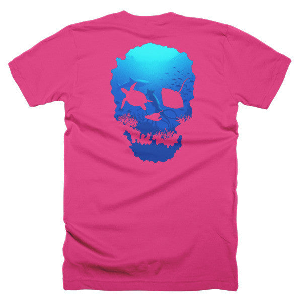 Short sleeve skull ocean men's t-shirt (Back) - Beach'n Designs - 31