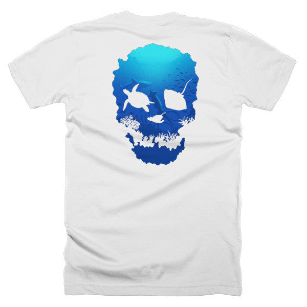 Short sleeve skull ocean men's t-shirt (Back) - Beach'n Designs - 1