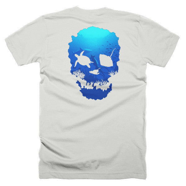 Short sleeve skull ocean men's t-shirt (Back) - Beach'n Designs - 9