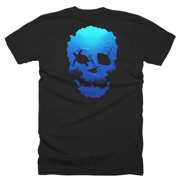 Short sleeve skull ocean men's t-shirt (Back) - Beach'n Designs - 5