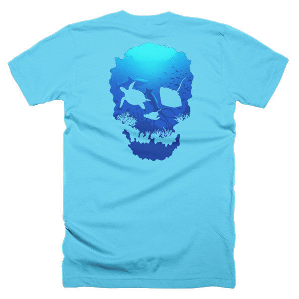 Short sleeve skull ocean men's t-shirt (Back) - Beach'n Designs - 23