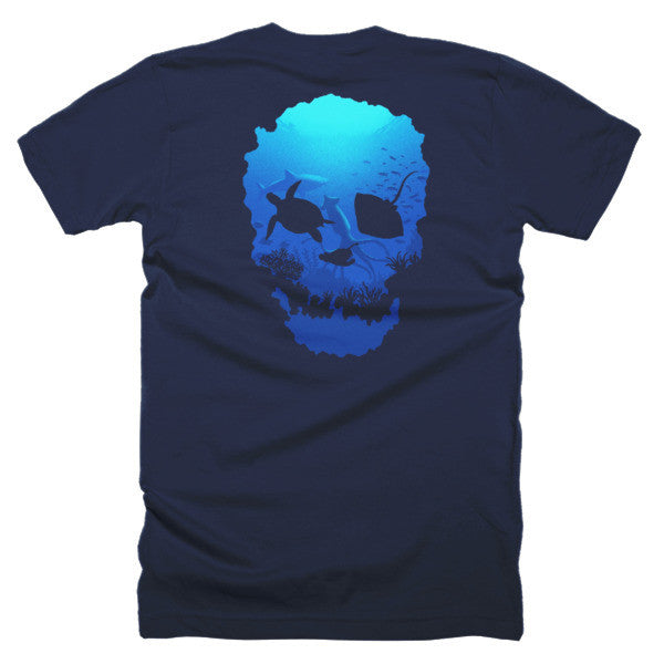 Short sleeve skull ocean men's t-shirt (Back) - Beach'n Designs - 3