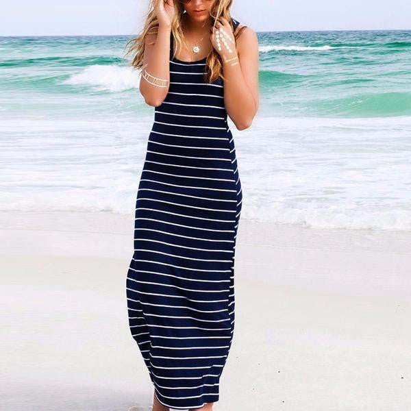 Nautical Striped Boho Long Maxi - Beach'n Designs