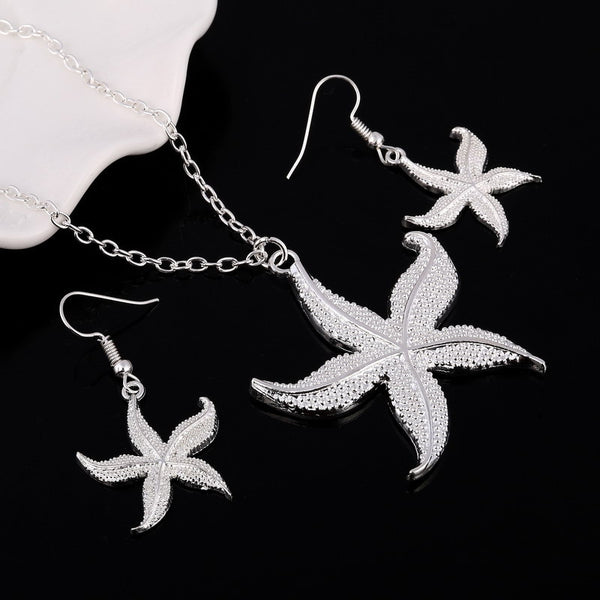 Starfish Silver plated jewelry set