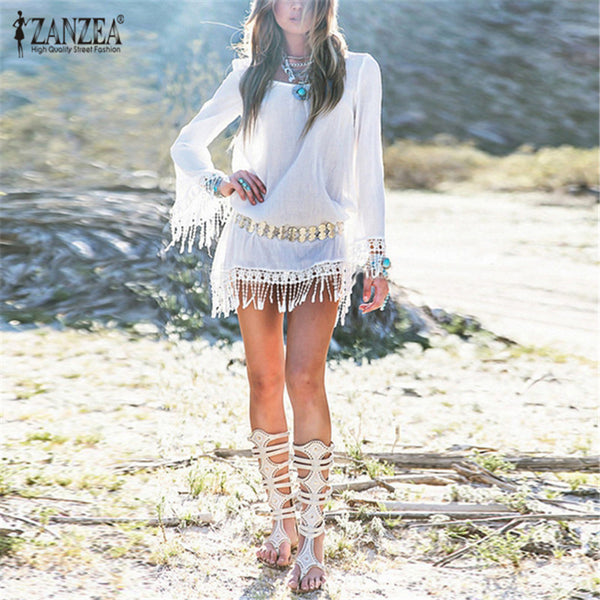 Chiffon Dress Vestidos Long Sleeve Boho Lace Tassel Patchwork Tunic Hollow Out Beach Mini Dresses - Beach'n Designs