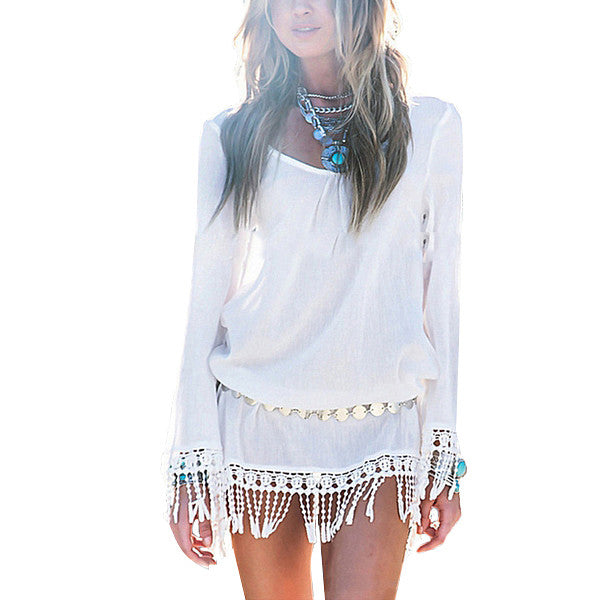 Chiffon Dress Vestidos Long Sleeve Boho Lace Tassel Patchwork Tunic Hollow Out Beach Mini Dresses