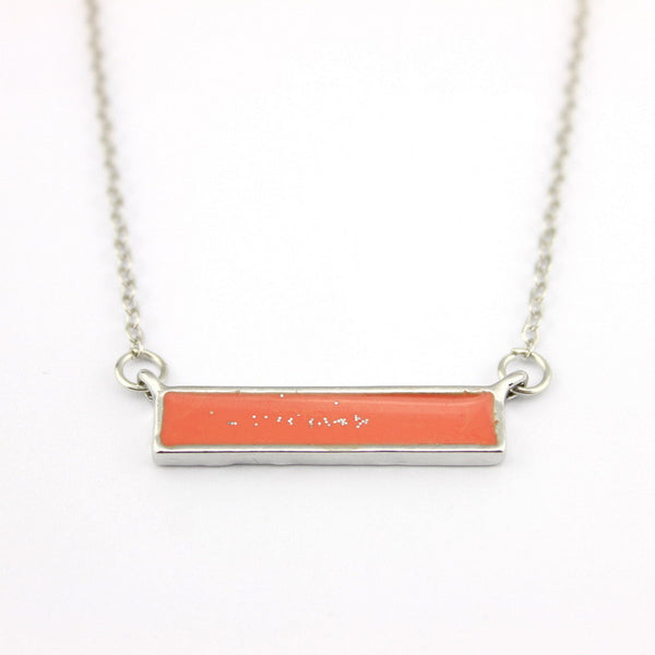 Trendy Fashion Modern Delicate Jewelry for Women Enamel Bar Coral Pendant Necklace
