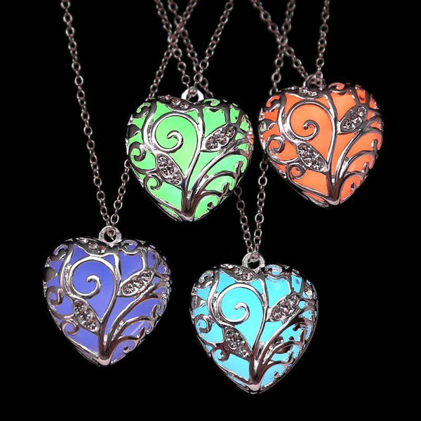 Glow In the Dark Heart Necklace Silver Hollow