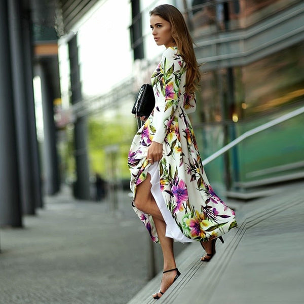 Tropical Floral Print long-sleeve Dress - Beach'n Designs