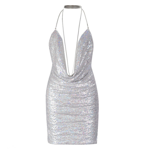 Party Backless Deep V Sparkling mini dress - Beach'n Designs