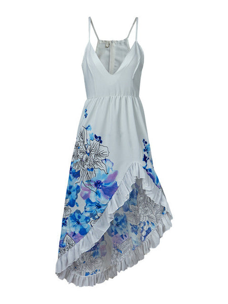 Patchwork Lace Slit White Beach Dress - Beach'n Designs