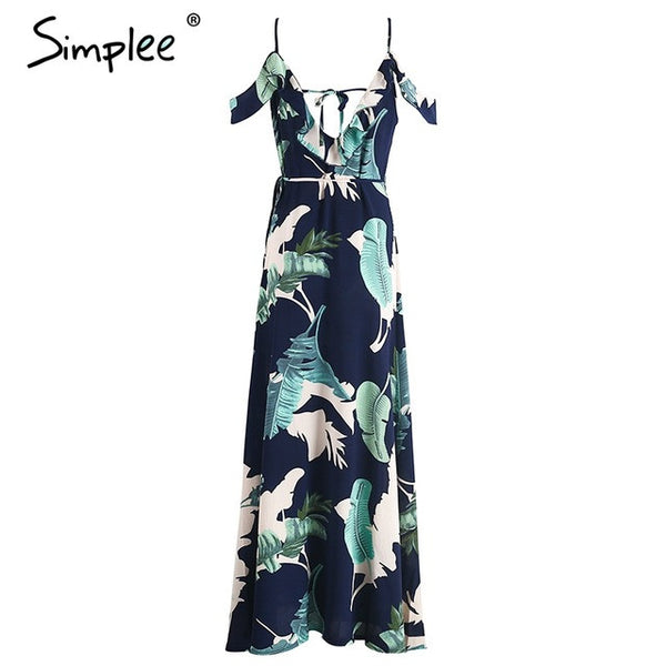 Simplee Backless tie up ruffles print long summer dress - Beach'n Designs