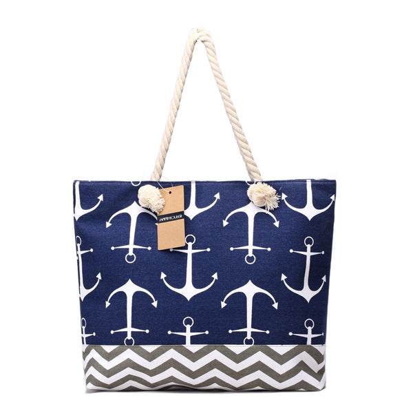 Canvas Anchor Print Beach Tote - Beach'n Designs