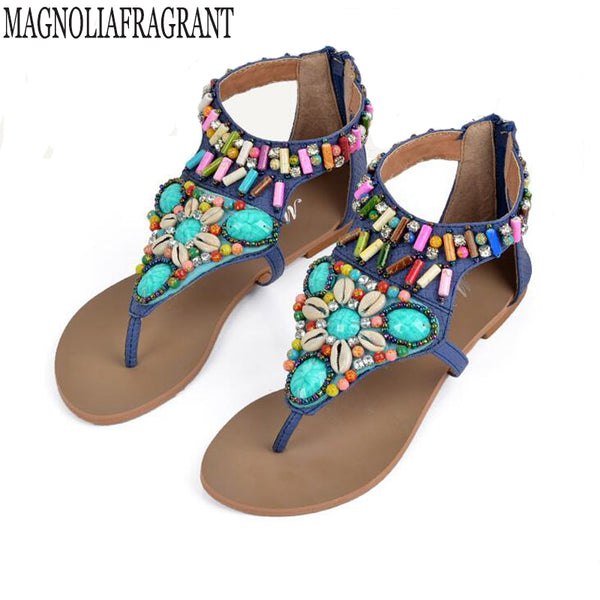 Rhinestone Bohemian Wedge Women Sandals - Beach'n Designs