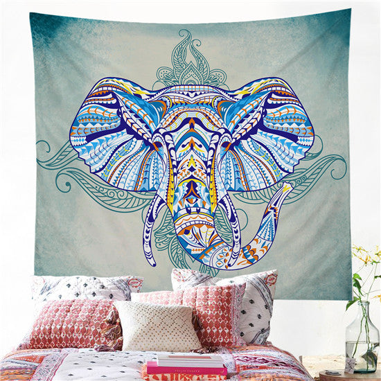 Elephant Tapestry Wall Hanging Animal Twin Hippie Tapestry Blue Boho Hippy Bohemian - Beach'n Designs
