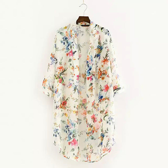Chiffon Flowers Floral Cardigan Beach Cover up - Beach'n Designs