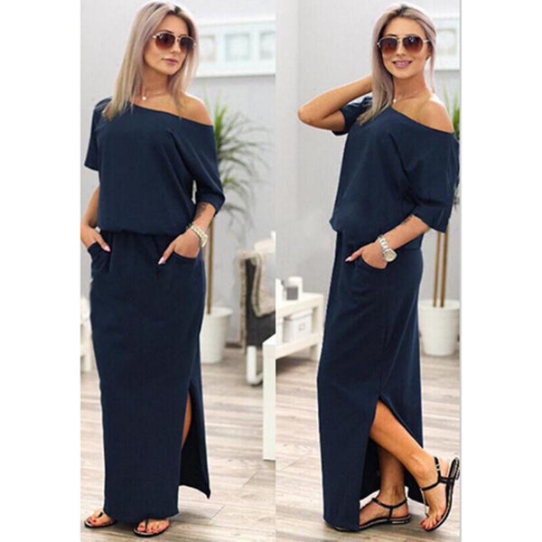 Sexy Summer Women Boho Maxi Dress With Short Sleeve Side Slit - Beach'n Designs