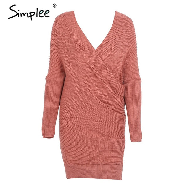 Simplee Sexy V neck cross knitting sweater dress