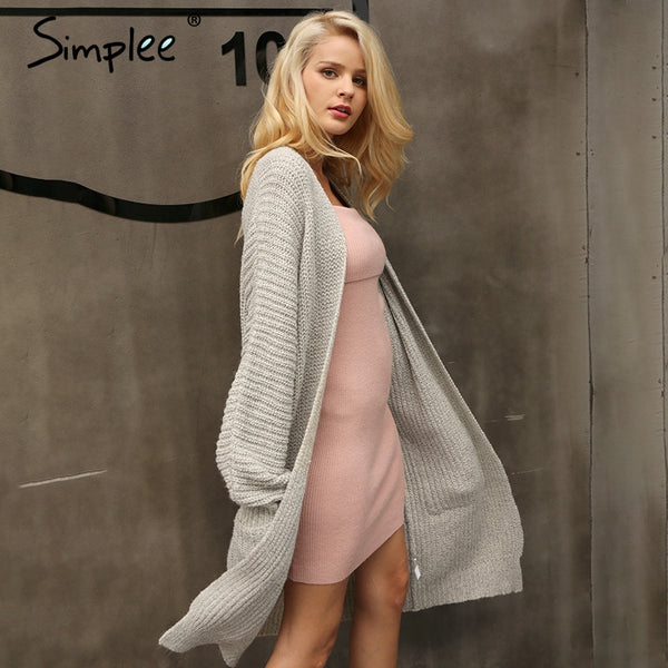 Simplee Autumn knitted long cardigan