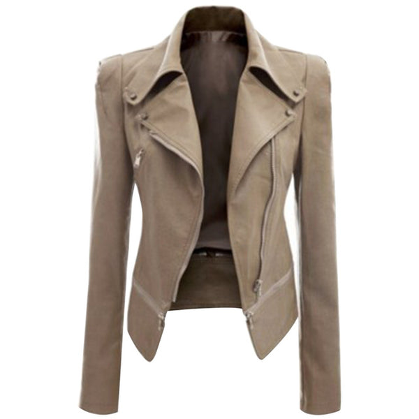 Slim Fit Decorated Zippers Jacket Cool Long Sleeve Coat Women Fashion Outwear