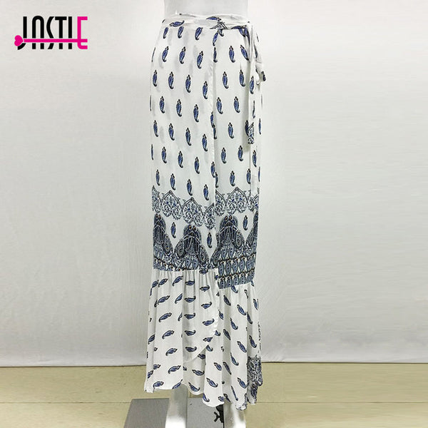 Floral Print Long Skirts High Waist Ruffle Split Wrap Maxi Skirt Beach Boho Gypsy Style - Beach'n Designs