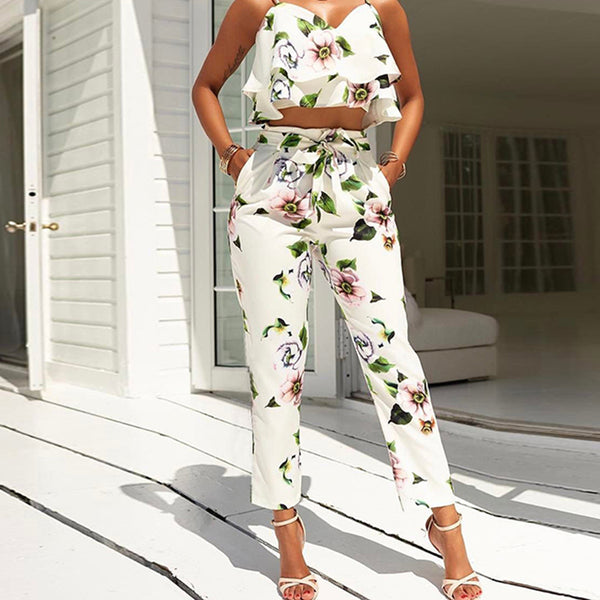 Two Piece Tropical Floral Print Crop Top + Long Pants Set - Beach'n Designs