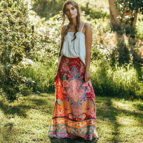 BOHO INSPIRED GYPSY SPLIT SKIRT floral - Beach'n Designs
