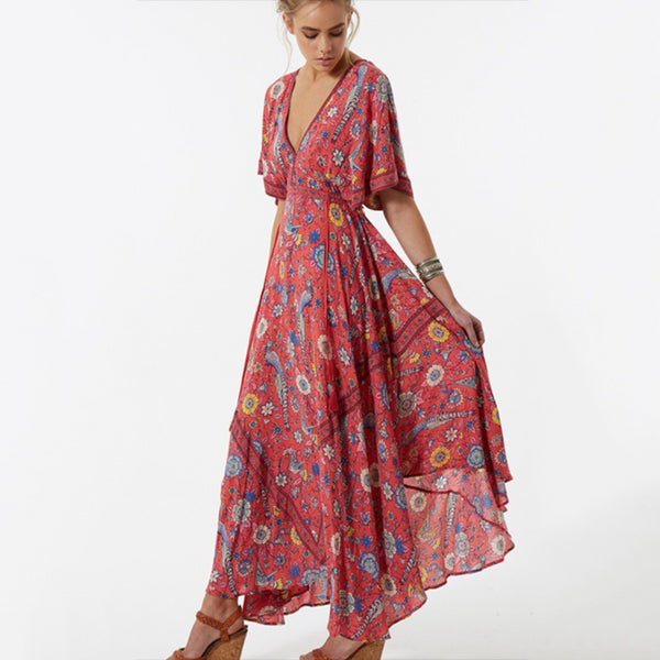 Boho Long Flower Maxi Dress Bohemian Maxi Dress Sexy Floral Print Beach Dresses - Beach'n Designs