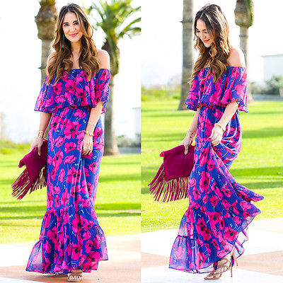Floral Blue Off the Shoulder Maxi Dress Long Beach Dress - Beach'n Designs