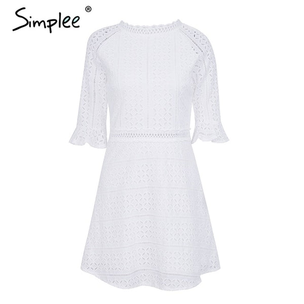 Simplee Elegant hollow out lace Half sleeve summer style midi white dress - Beach'n Designs