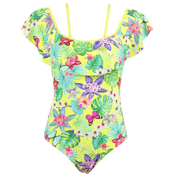 Tropical Print One Piece Off The Shoulder Floral Bathing Suit - Beach'n Designs