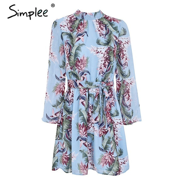Simplee floral print chiffon Backless Lace Up Summer Dress with a Flare - Beach'n Designs