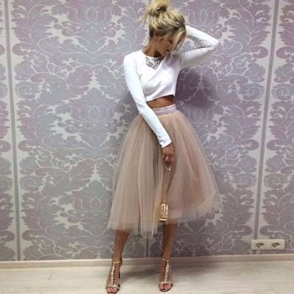 Champagne Tutu Skirt Band Zipper Waistline Midi Skirt - Beach'n Designs