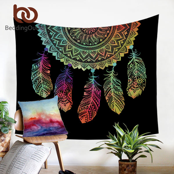 Dream Catcher Tapestry Boho Printed Wall Hanging Feathers Art Carpet Bohemian Decorative Tapestry - Beach'n Designs