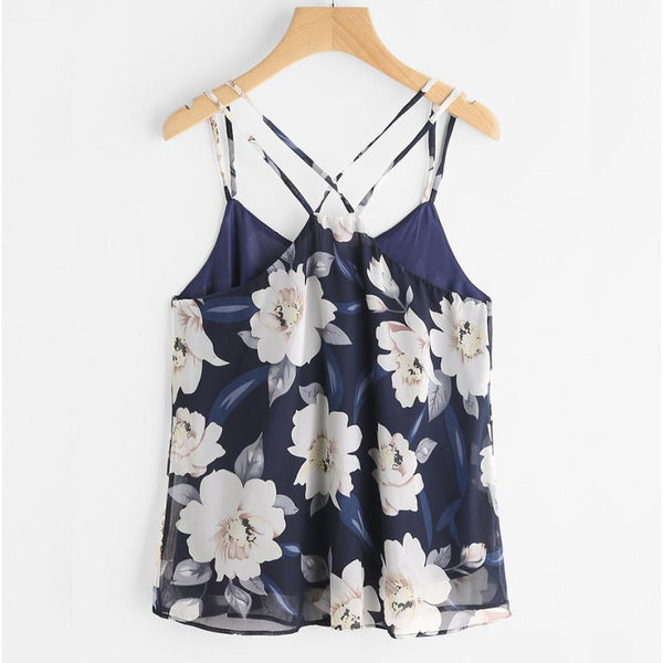 Floral Cropped Chiffon Tank Crop Top