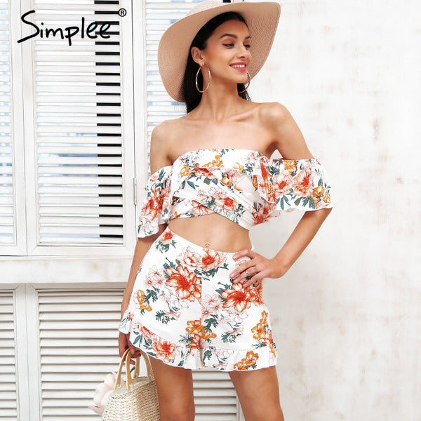 Simplee Off the shoulder two piece floral print jumpsuits rompers - Beach'n Designs