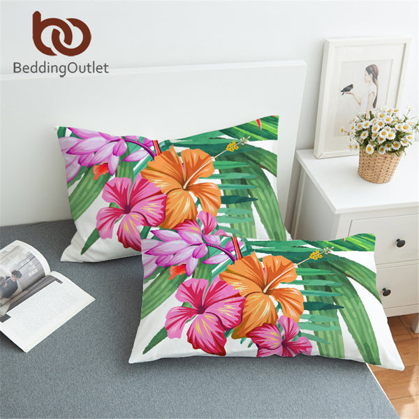 Hibiscus Pillowcase Tropical Floral Flower Print Pink and Green Pillow Cover - Beach'n Designs