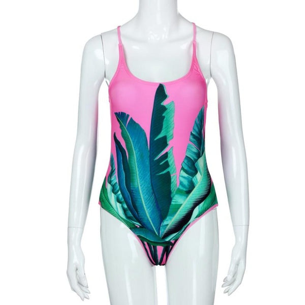 Palm Print One Piece Pink Swimsuit Sport Competition Swimming Suit - Beach'n Designs