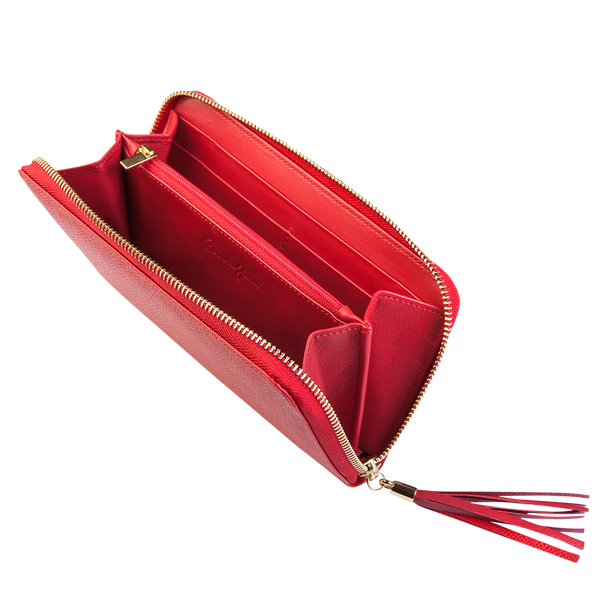 Tatiana - Large Leather Purse - Red - Cornelia James - 1