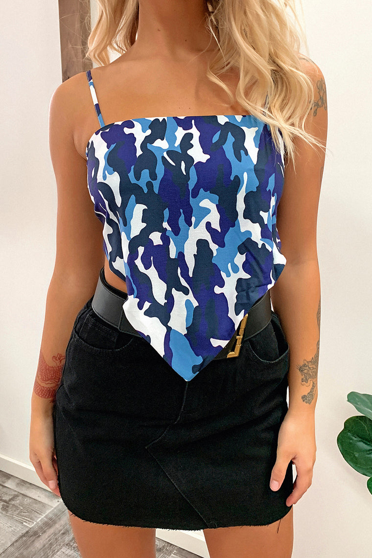 Sorrel Crop - Blue Camo
