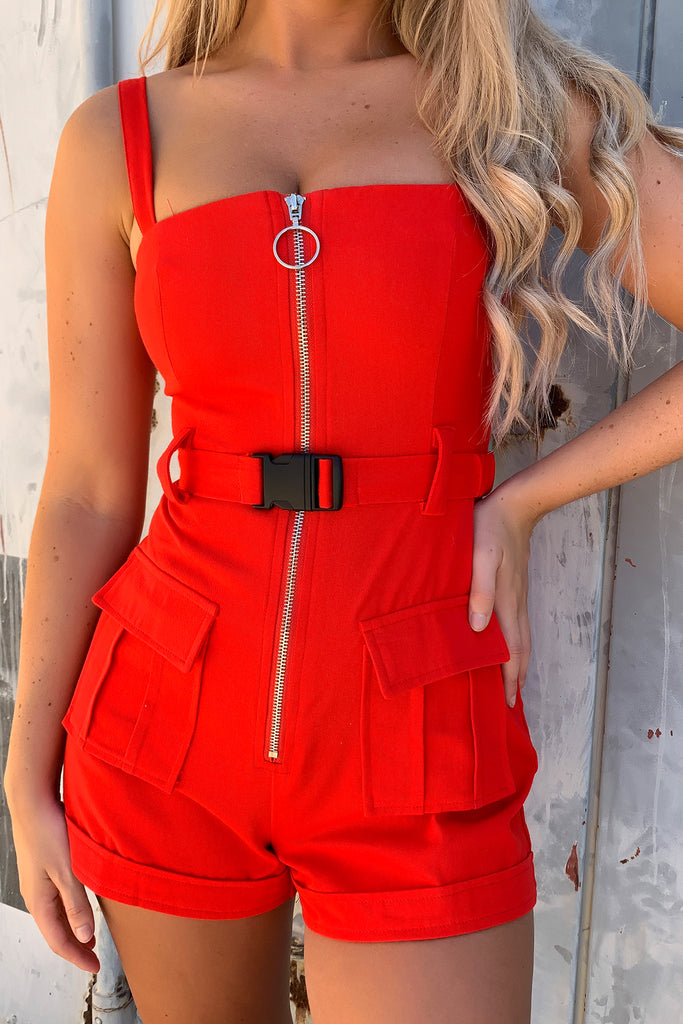Virtue Playsuit - Red