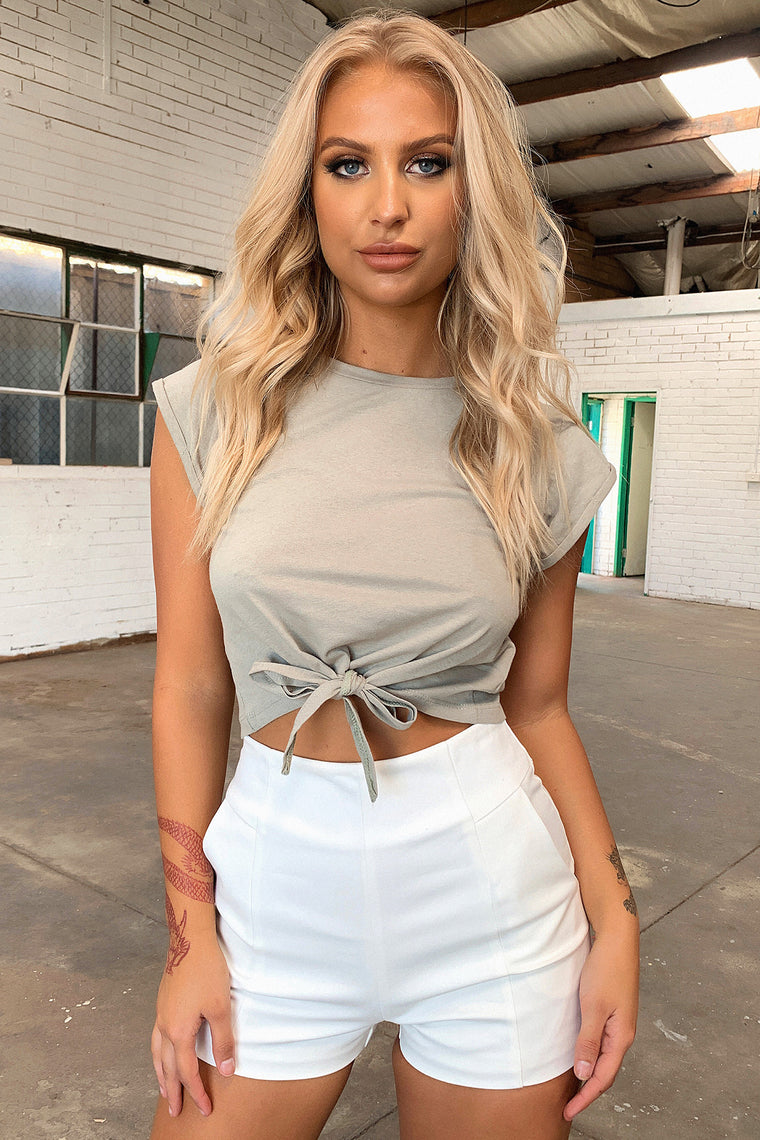 Jane Cropped Tee - Khaki