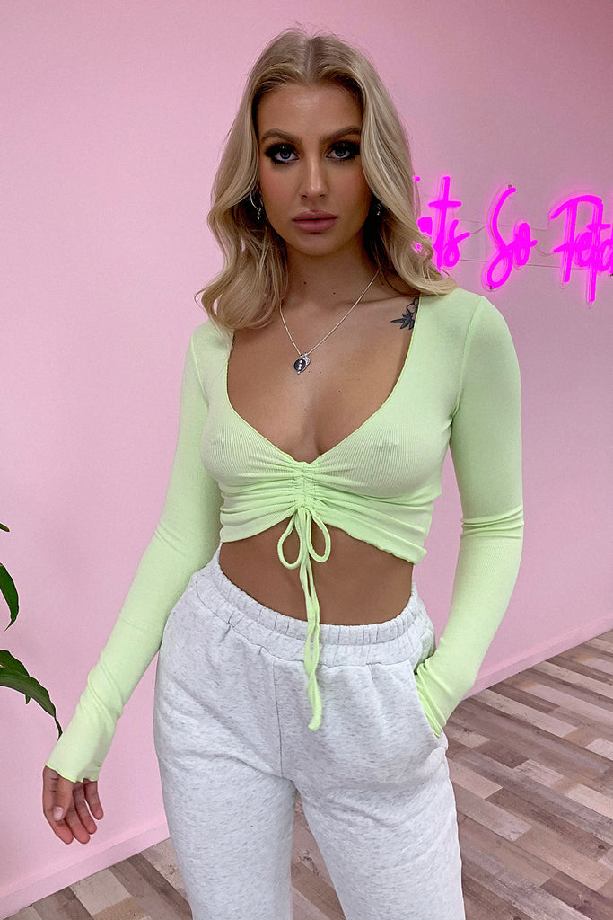 Jericho Long Sleeve Crop - Lime Green