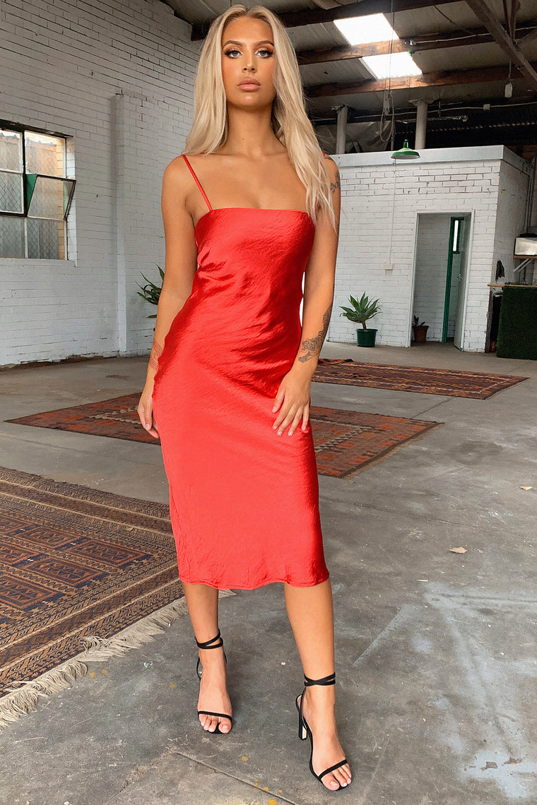 Midnight Dress - Red Satin