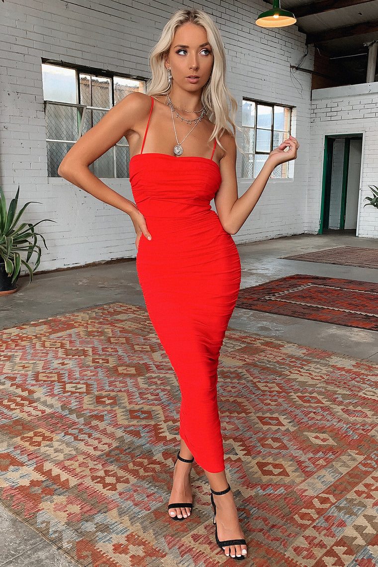 Zena Full Length Dress - Red