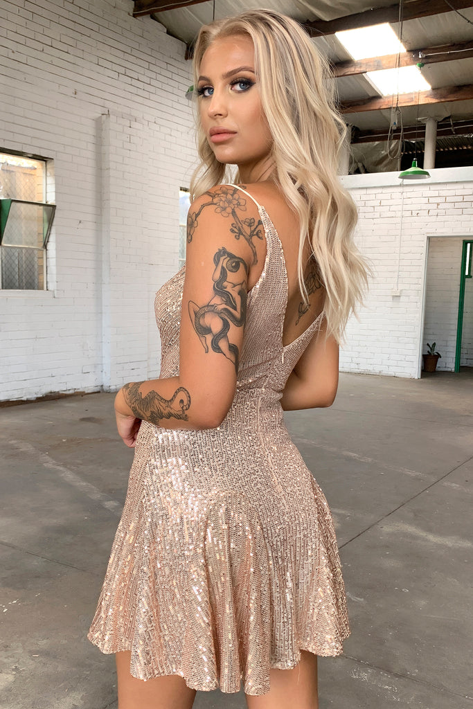 Joplin Dress - Gold Sequin