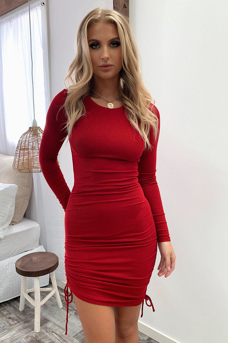 Miller Long Sleeve Dress - Deep Red