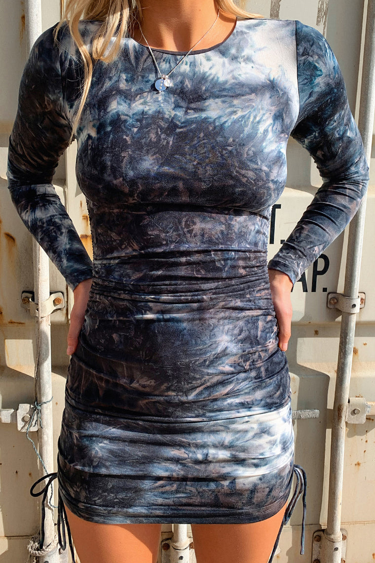 Miller Long Sleeve Dress - Black/ White Tie Dye